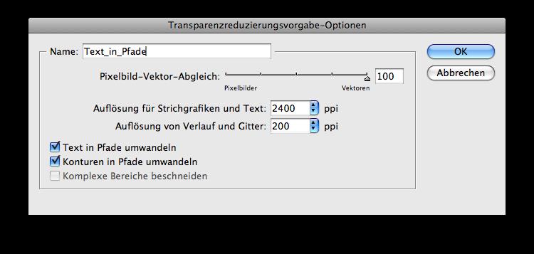 Transparenzreduzierungsvorgabe Text_in_Pfade